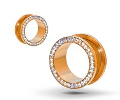 rose gold ear tunnels | Pair of Rose Gold-Anodized Surgical Steel Ear Tunnel Plugs with Clear ...