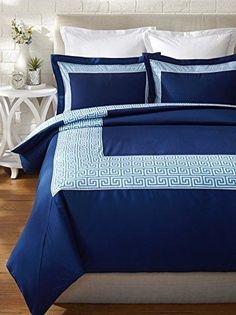 Jonathan Adler Blue Navy Geometric Elizabeth 3PC Full/Queen Duvet Cover Set #JonathanAdler