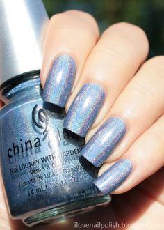 China Glaze 2NITE.  A beauuutiful blue holo.  Two coats.