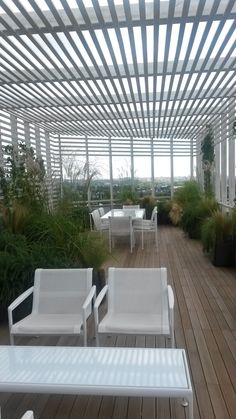 The terrace at HQ - as inspiration for how the patio outside the canteen can be made into a more relaxing sitting area. Academy Of Sciences, Canteen, Sitting Area, Outdoor Entertaining, Hostel, Foyer, Terrace, Pergola, House Ideas