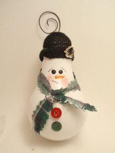 Snowman Light Bulb Ornament by brightideasbylorrie on Etsy