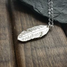 Silver Feather Necklace - Feather Pendant - Layer Necklace - Minimalist Jewelry - Boho Jewelry - Silver Boho Pendant