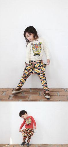 Geometric Drop Crotch Sweat Pants. Very comfortable, harem style.
