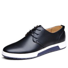 Spring Autumn Male Youth Lace-up Casual Leather Shoe Men Business England Style Round Tip Breathable Shoes Male Large Size