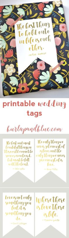 free printable wedding tags--six designs. perfect for gift toppers or favor tags!