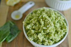 Green Goddess Cauliflower Rice. Ingredients: cauliflower, ghee or coconut oil, avocado, basil leaves, lemon, olive oil, sea salt, pepper