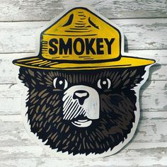 Smokey the Bear Custom Hand Painted sign by on Etsy Evil Mermaids, Bear Signs, Smokey The Bears, Bear Art, Hand Painted Signs, Picture Show, Painting On Wood, Old Things, Fishing Tips