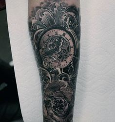 Pocket Watch Detailed Tattoo Forearm Sleeve For Guys