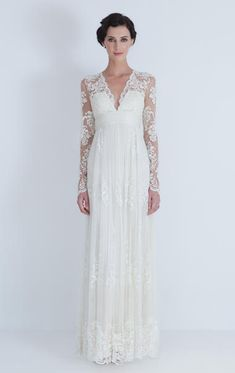 Catherine Deane:  Lia Wedding  Antique french lace inspired embroidered silk tulle dress with long sleeve. The dress is fully lined in silk satin with bust cups and boning for support.