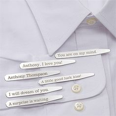 Secret Message engraved Dress Shirt Collar Stays - great wedding gift idea for the groom, groomsmen and fathers of the bride & groom. Great way to sneak a message to your future husband before the ceremony on your wedding day!