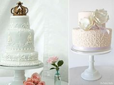 scroll piping techniques with wedding cakes via Lover.ly (left) and by The Pastry Studio (right)