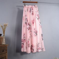 2017 Summer New Bohemia Chiffon Floral Printed Boho Floor-Length Long Maxi Loose Flare Skirt