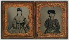 1860 Texas. Two sisters, Oram family. Possibly Betsy on the left and  Alice on the right.