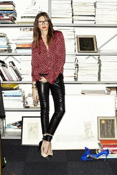 Why we love it: In this photo shoot, we see Jenna showcasing a slightly edgier side, rocking shiny tight leather pants a J. Crew silk shirt, and predictably fabulous shoes.