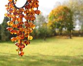 Cognac Baltic Amber Bib Necklace Shades of Honey Bee Gold Drops by Gergina Radev