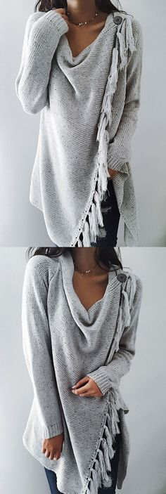 Grey Tassel Asymmetrical Hem Shawl Speckled Fringe Cardigan ready for Fall fashion! Find fashionable outfits for the new Look Fashion, Winter Fashion, Fashion Outfits, Womens Fashion, Fashion Design, Fashion Trends, Street Fashion, Diva Fashion, Fashion Black