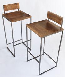 banqueta alta taburete hierro y madera colores carlos. Black Bedroom Furniture Sets. Home Design Ideas