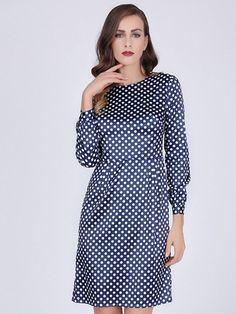 350cffa1b3d2 Aliexpress.com : Buy Sisjuly women bodycon dress 2017 spring blue polka dot long  sleeves work dress autumn office female fashion sheath bodycon dress from  ...