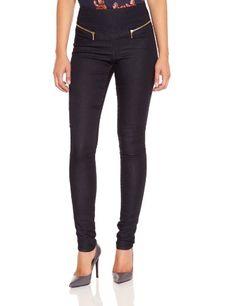 VERO MODA Damen Skinny Legging 10090337 GELLER HW ZIP BLUE, Gr. 40 (Herstellergröße: 40/42 (L/XL)), Blau (DENIM) VERO MODA