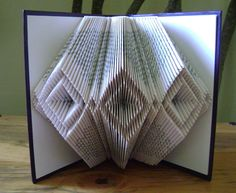 Folded book art, diamond-diamond II, upcycled book art, folded book sculpture on…