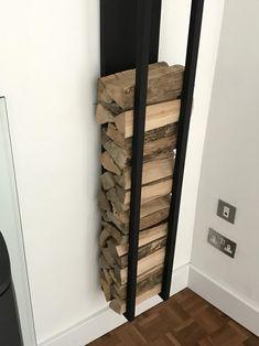 Log Store Indoor, Indoor Log Storage, Living Room Storage, Wall Storage, Firewood Logs, Log Wall, Log Burner, Steel Metal, Steel Frame