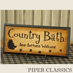 Country Bath Sign ( but in blocks) Country Baths, Bath Sign, Cabin Bathrooms, Bathroom Signs, Bathroom Ideas, Bear Decor, Old Farm Houses, Cabin Homes, Wooden Signs
