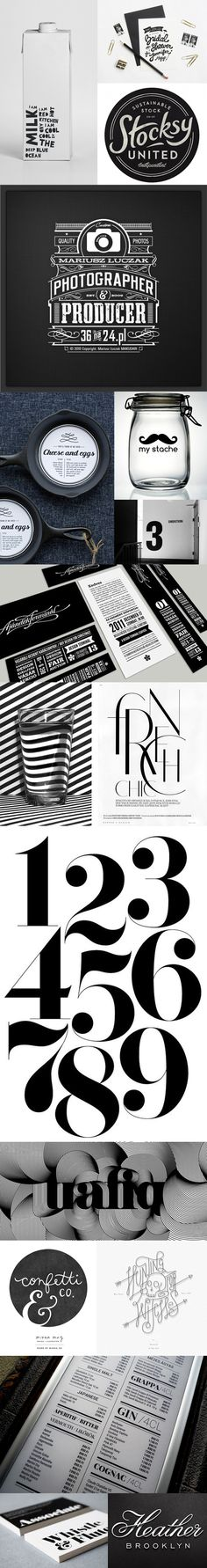 Black and white design - really appealing with contrast and style. Like the use of typography and circular motif.