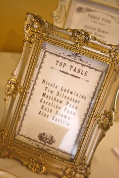 Vintage gold frames for the seating assignments #wedding #gold #blacktie #diywedding #reception