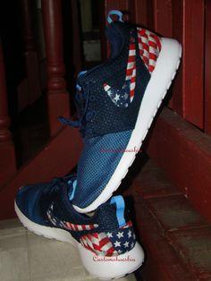 Custom Nike Roshe Run- Navy Nike Roshe Runs - American Flag Print - Women/ Men