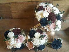 Custom Sola Navy Blush Burgundy Wedding Bridal Bouquet Sola
