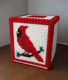 Plastic Canvas Red Cardinal Boutique Tissue Box Cover - Cream Background                                                                                                                                                                                 More