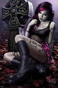 Female Fantasy Gothic Bloody Art   Fantasy Art: Gothic Girl Poster   Art Canyon