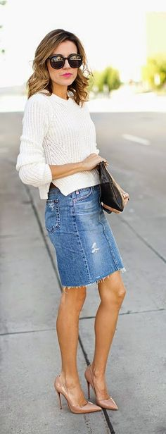 Knit Sweater + Bringing Back Denim Skirt
