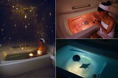 The waterproof planetarium floats in water and contains a bright light that projects out into the room, or even into the tub itself when flipped over. It also includes Rose Bath and Deep Ocean graphic domes for changing to a different mood.