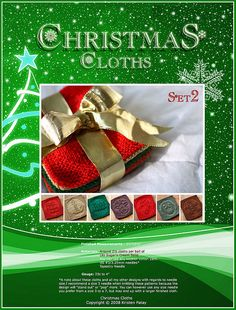 Ravelry: Christmas Cloths Set 2 pattern by Kris Knits Knitted Washcloths, Crochet Dishcloths, Crochet Stitches, Christmas Dishes, All Things Christmas, Hanukkah Decorations, Pattern Library, Christmas Knitting, Holiday Ornaments