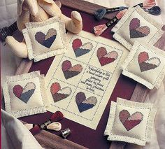 valentine hearts for gifts: embroidered patterns - crafts ideas - crafts for kids