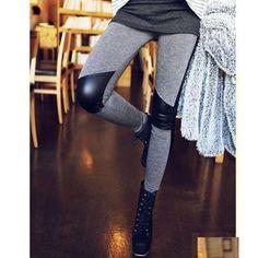 패션 탄성 연필 바지 스키니 바지 스티치 가죽 레깅스 여성 leggins