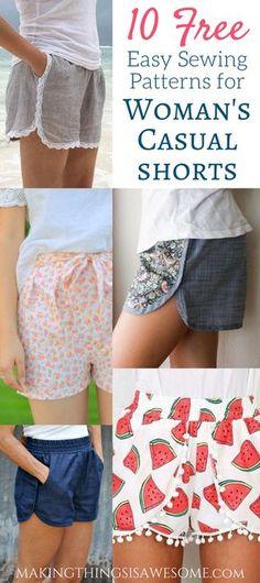 10 Free super cute casual Woman's Shorts Patterns! #freepattern #sewingpattern #womansshorts #howtosewwomansshorts #womansshortsroundup