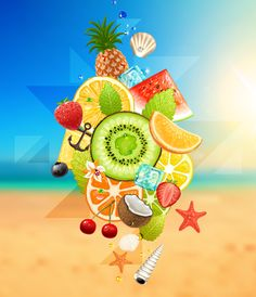 Summer fruits with beach vector background Eps Vector, Vector Graphics, Vectors, Free Vector Backgrounds, Vector Free Download, Free Summer, Summer Fruit, Graphic Art, Tropical
