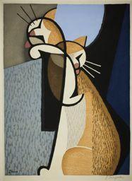 Inagaki Tomoo: Cat Making Up - Art Institute of Chicago - Ukiyo-e