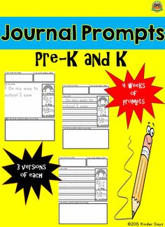 Kindergarten Writing: This is a great product for beginning writers. Included in this packet:   4 WEEKS of WRITING • 2 Alphabet Handwriting Charts (color & B/W) • 2 Primary Word List- number words 0-10, colors, shapes, Pre-Primer Dolch list (color & B/W) • 5 Student friendly writing prompts-WRITING ON TOP (3 versions-unlined and lined primary paper with story starter and lined without story starter for advanced writers)