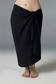 2d89349a81acd Plus size black sarong cover up with built in ties. Beach Wrap, Georgette  Fabric