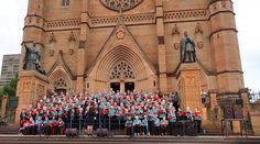Performing on the steps of St Mary's Cathedral Hyde Park Sydney the group Sing Australia..💝 2016