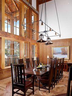 Private Residence D - Yellowstone Club - Continental Construction. Custom chandelier by Aldo Bernardi. Living Room Interior, Living Room Decor, Dining Room, Interior Lighting, Outdoor Lighting, Lamp Light, Interior Decorating, Decorating Ideas, Chandelier