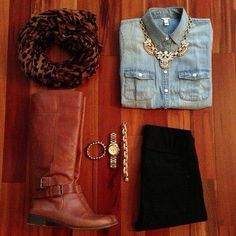 New fall outfit!!!!!!! #denim #boots
