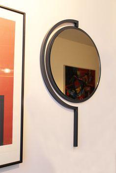 Contorno mirror By Studio Jolanda van Goor 2016. Powder coated Grey Blue steel with a Grey mirror
