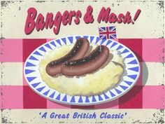 """Bangers and Mash Metal Sign, Traditional British Food Kitchen Decor by OMSC. $19.50. This sign measures 16"""" by 12"""". Eco-friendly process, hand-made in the USA. Glossy, full-color, enamalized imaged baked onto thick, 24-gauge steel. Ships in Ploy-bag for complete protection. Rounded corners with holes for easy hanging. Featuring art by Martin Wiscombe  Born and raised in Lyme Regis, Dorset , Martin studied illustration and design in the west country, then went on to spend more..."""