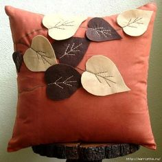 Rust Decorative Pillows Cover, Square Leaf Felt Applique Tropical Theme Faux Suede Pillows Covers For Couch – Spring Leaves – 2019 - Pillow Diy Sewing Pillows, Throw Cushions, Diy Pillows, Pillow Ideas, Orange Pillow Cases, Orange Pillows, Felt Embroidery, Felt Applique, White Decorative Pillows