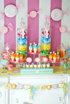Candy Land Party Ideas - love the plate candy decor on the walls.  Children's party pretty decor ideas for Candy Land Party.  Candyland, Cupcake, Rainbow, Willie Wonka or Lollipop Birthday Party Theme. DIY decoration, tablescape, backdrop, centerpiece, food & menu