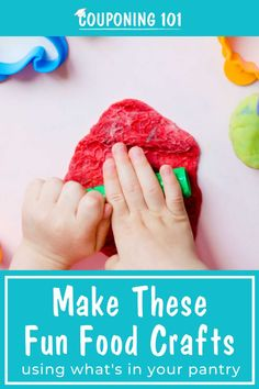 Use these clever and fun food craft ideas with your kiddos-- save time and money because you already have all the ingredients in your pantry! Cool Diy Projects, Craft Projects, Craft Ideas, Food Crafts, Diy Crafts, Couponing 101, Best Savings, Diy Pins, Good Food